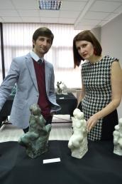 "Sinisha Noveski and Historian Jelena Zivkovic pose with the sculpture ""Danube and Sava"" in bronze and plaster"