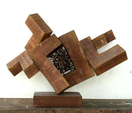 Formation of Space I (Wood and Metal, 50x40x30cm, 2002)